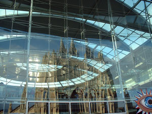 The Church of St Peter Mancroft reflecting off the Norfolk & Norwich Millennium Library - Norwich, Norfolk