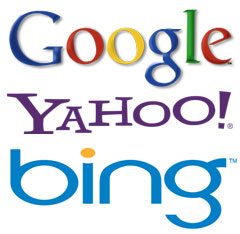 The top three search engine logos - Google, Yahoo and Bing (from Microsoft)