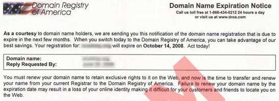 Header from a Domain Renewal Scam Letter