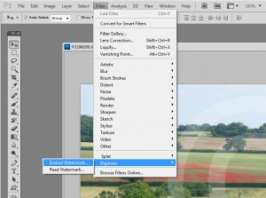 Embedding a digital watermark using the Digimarc plug-in in Photoshop