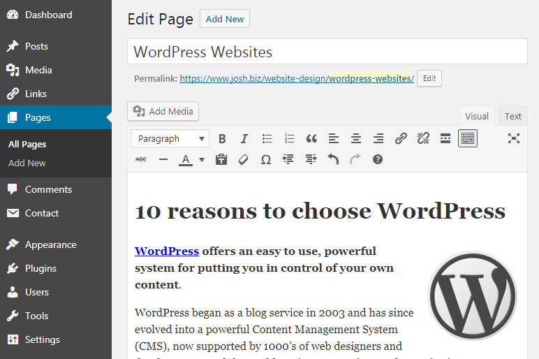 Editing in WordPress
