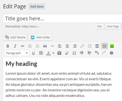 Editing a web page in WordPress