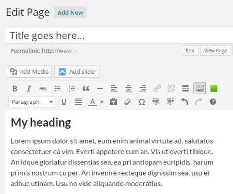 Editing a web page in WordPress